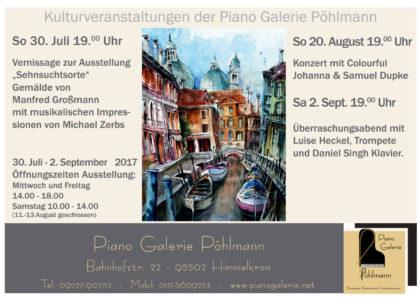 Kulturveranstaltungen der Piano Galerie Pöhlmann
