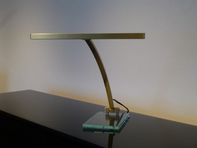 Klavierlampe Glasfuß Messing Matt LED